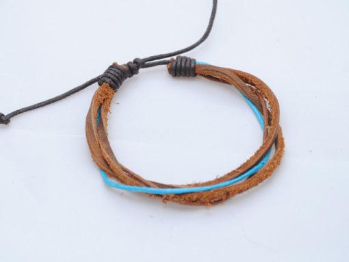 Mens-leather-bracelet-brown-Blue-BM5