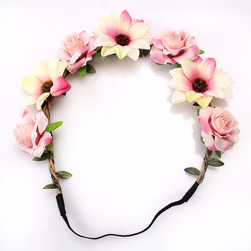 FESTIVAL DANCE HIPPY FUN PARTY NEW MULTI COLOURED FLOWER HEADBAND WITH RIBBON
